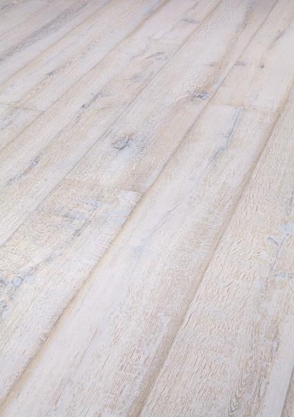 LINDURA Holzboden 8425 Eiche lebhaft white washed in B Ware Landhausdiele meister-lich 27cm breit